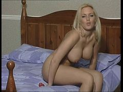 Sexy Blonde In Tan Pantyhose Rides Her Dildo