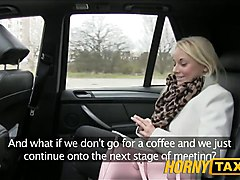 HornyTaxi Blonde customer seduced by taxi driver