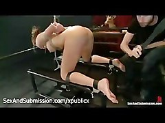 Bound Cali Lakai ass and feet flogged by master James Deen