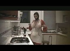 Latex-Fetish-BBW with Huge Boobs - In Kitchen