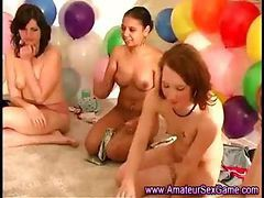 Lesbian Amateurs Play Sex Games At Party