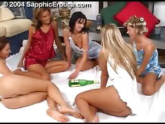 Five Hot Girls At Slumberparty Play Spin The Bottle