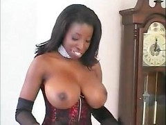 Ebony Whore In Black Stockings Vanessa Blue Rammed