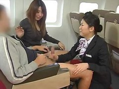 Japanese Stewardess Handjob